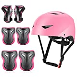 ValueTalks Kids Bike Helmet and Pads Set Age 5-16 Years Kids Skateboard Helmet Knee Pads Elbow Pads Wrist Pads...