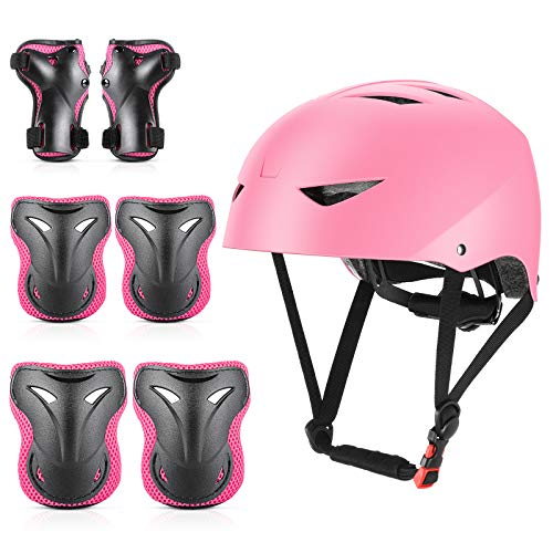 ValueTalks Schonerset Kinder Knieschoner Set mit Helm für inliner Skateboard Fahrrad Rollschuh (Rosa)