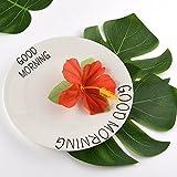 "Kuuqa 60 Stück Tropical Party Dekoration liefert 8 ""Tropical Palm Monstera Blätter und Hibiskusblüten, Simulation Blatt für hawaiische Luau Party Jungle Beach Thema Tischdekoration - 3"