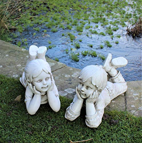 Large LYING BOY & GIRL Statues Home Decor & Garden Ornament Sculpture Gift Set