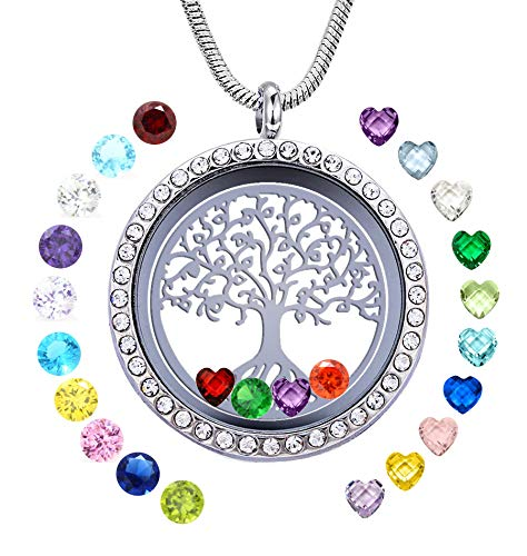 Family Tree of Life Floating Locket Necklace with 24 Birthstones, 30mm DIY Charms Living Memory Stainless Steel Pendant, Gifts for Mom Grandma Aunt Nieces Daughter Women Girls