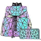 HOT ONE Colour Cambia Borse e borsette luminose geometriche Borsa olografica Borsa riflettente Borsa Moda (5# No.1 + Portafoglio Cerniera)