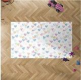 Oedim Alfombra Infantil Corazones para Habitaciones PVC | 95 x 133 cm | Moqueta PVC | Suelo vinílico | Decoración del Hogar | Suelo Sintasol | Suelo de Protección Infantil |