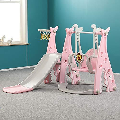 FZTX-LPX Kinder rutschen Indoor-Heimspielplatz DREI-in-Eins-Kindergarten Outdoor Baby Rutsche Schaukel Kombinationsspiel,Rosa