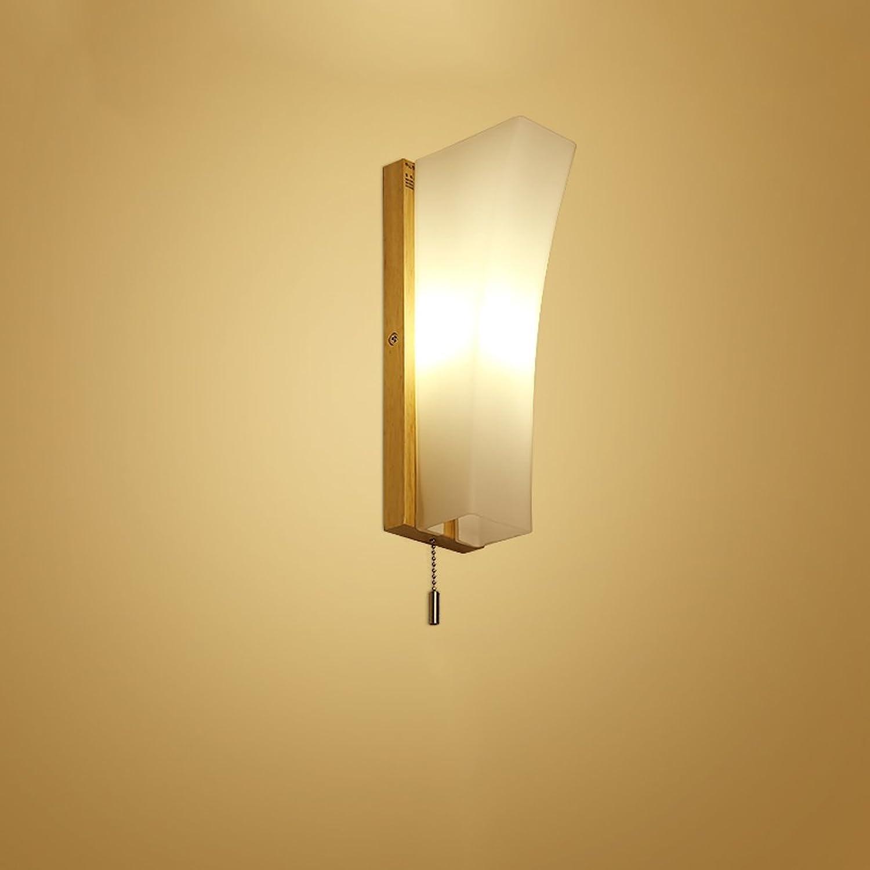 Japanisch-Stil Massivholz Wandleuchte LED Leseleuchte mit Hand-Schalter Schlafzimmer Nachttischlampe