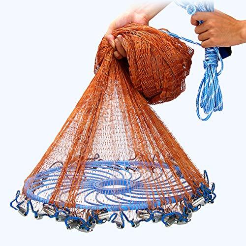 Zhanyiyi Angeln Werkzeug 3-4.8m Netting Twine + Steel Handwurf Cast Net American Style Brown Bait Fishing Network (Größe : 4.8m)