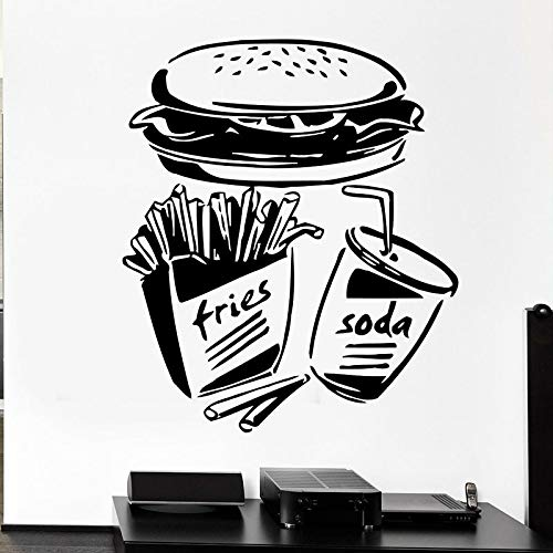 HGFDHG Calcomanía de Pared de Comida rápida, Papas Fritas, Hamburguesa, refrigerador, Ventana, Vinilo, Pegatina, Restaurante, Cocina, decoración Interior, Papel Tapiz