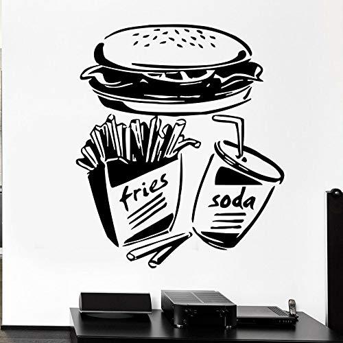 Calcomanías de pared de comida rápida, papas fritas, refrescos, hamburguesa, pegatinas de vinilo, decoración de cocina de restaurante