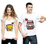 t-shirteria Coppia T-Shirt Innamorati Pane e Cioccolata - Idea Regalo per Il Tuo Lui/la Tua lei