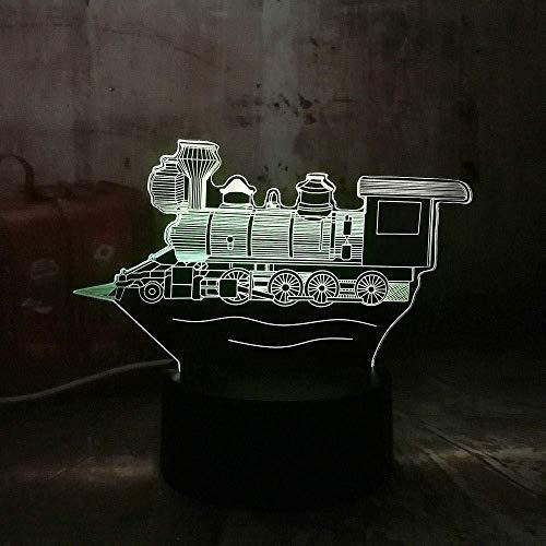 Ilusión óptica 3D Locomotora vintage Lava redlll 7 colores Luz nocturna para niños Niños y niñas como regalos perfectos en cumpleaños o días festivos