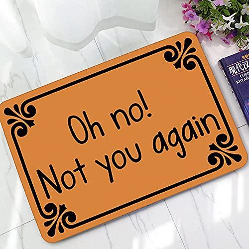 Oh No Not You Again - Felpudo para puerta de entrada, para interiores y exteriores, decoración para puerta, alfombra de entrada, alfombra baja, 40 x 29.5 pulgadas
