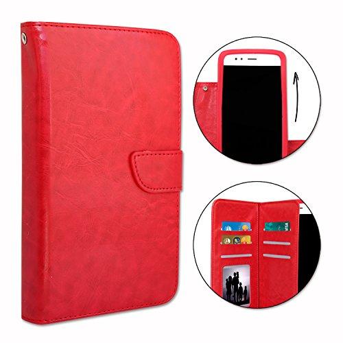 Unbekannt PH26 Schutzhülle für MobiWire Taima im Brieftaschenformat aus Kunstleder mit doppeltem Klappdeckel innen Kartenfächer, Magnetverschluss & sichtbaren Ziernähten