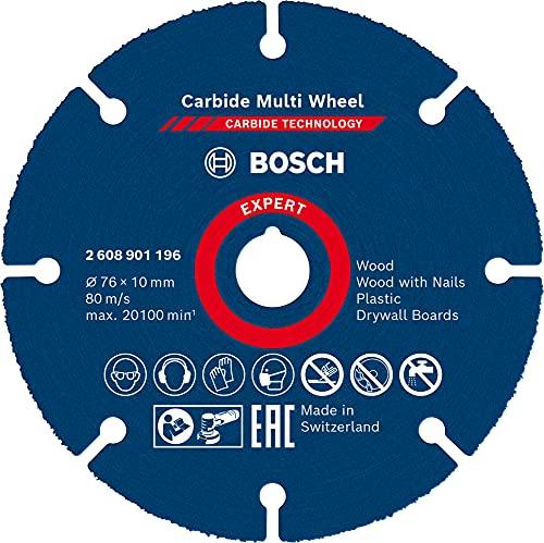 Bosch Professional 1 x Discos de corte Expert Carbide Multi Wheel, para Madera dura, 76 mm, X-LOCK, Accesorios Mini amoladora