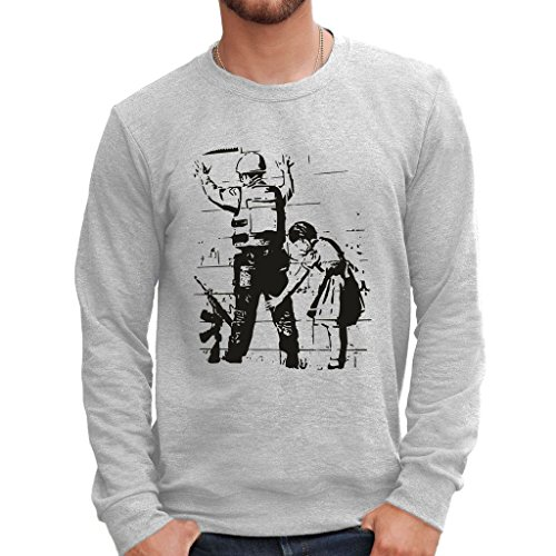 MUSH Sweatshirt Banksy Israel Wall - BerŸhmt by Dress Your Style - Herren-XL Grau