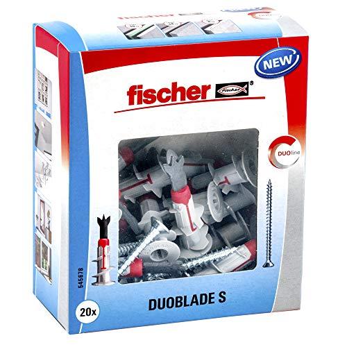 Fischer 545678 S 545678-Tacos para cartón Yeso autorroscantes x Duoblade, 20 Tornillos para aglomerado 4, 5 x 40, Gris y Rojo