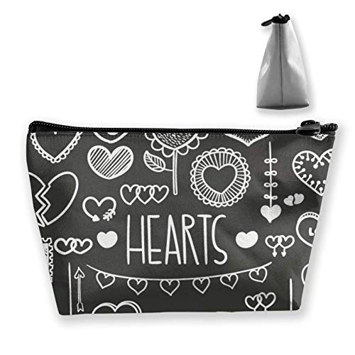 wenxiupin Hearts Love Grey Women Girls Cute Snowman Pattern Mint Green Make Up Bag Pouch For Makeup Brushes Jewelry Travel