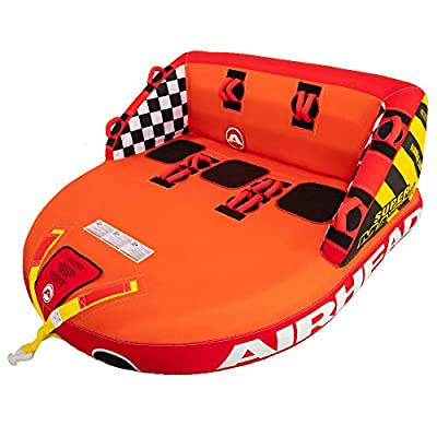 SportsStuff Super Mable   1-3 Rider Towable Tube for Boating, Orange, Red, Yellow