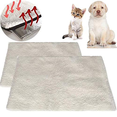 STARPIA 2 Piezas Mantas Autocalentables para Gatos Perros 60x45 cm Manta Térmica para Gatos Perros, Cojín de Calor sin Electricidad y Baterías