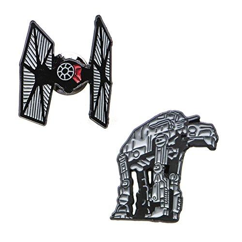 Star Wars Herren-Anstecknadel-Set Episode 8 at-at mit ausgeschnittenem und Krawattenkampfer, Emaille, silberfarben, Einheitsgröße