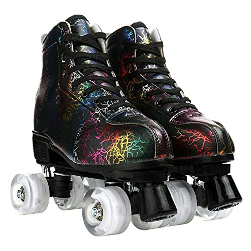 litulituhallo Womens Roller Skates Graffiti High Top Double Row Adjustable with Flashing Black White Transparent Size 39