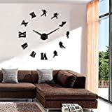 BBNNN Acrylique Mur Horloge DIY sans Cadre Grand Joueur De Football 3D Grande Horloge Murale Rugby Fan Sports sans Cadre Géant Montre Murale Effet Miroir Sticker Mural 37 Pouces Noir