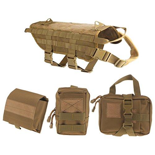 MagiDeal Nylon Taktische Hundegeschirr, Militärische Hundeweste, Mit Tasche, Polizei Hundeweste - Braun, L