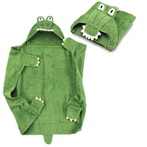 Toalla con capucha para bebé Toalla con capucha en 100% algodón de rizo - Toalla de baño para bebé con capucha - Oeko-Tex 100; Cocodrilo