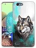 Sunrive Kompatibel mit Vodafone Smart E8 Hülle Silikon, Transparent Handyhülle Schutzhülle Etui Hülle (X Wolf 1)+Gratis Universal Eingabestift MEHRWEG