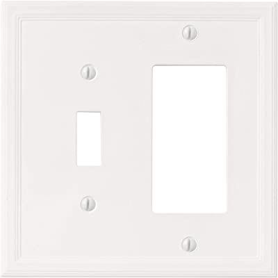 1 Toggle 1 Rocker Combination White Light Switch Cover Decorative Outlet Cover Wall Plate