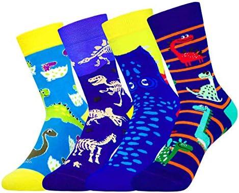 4 Pack Kids Boys Girls Novelty Crew Socks Funny Cartoon Cute Animal Dinosaur Dinosaur product image