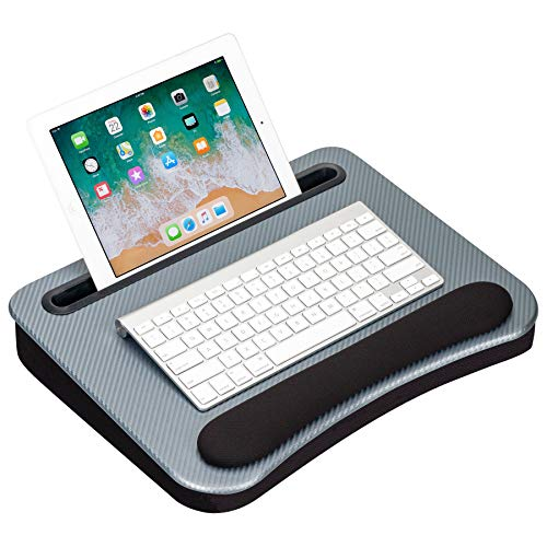 LapGear Smart-e Memory Foam Lap Desk - Silver Carbon - Fits up to 15.6 Inch laptops and Most Tablet Devices - Style No. 91335