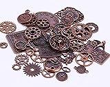 KIMI-HOSI 40 pezzi Assortiti Ingranaggi Steampunk Vintage Steampunk Fascino Orologio Ruote Ingranaggi per Creazione di Gioielli Artigianato fai da te Ciondolo Collana - Bronzo Rosso