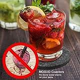 MOSUO Untersetzer Gläser (12er Set), Getränkeuntersetzer mit Box Filzuntersetzer Rund Dekorative Glasuntersetzer Filz in Dunkelgrau für Tassen, Tisch, Bar, Glas, Gläser - 6