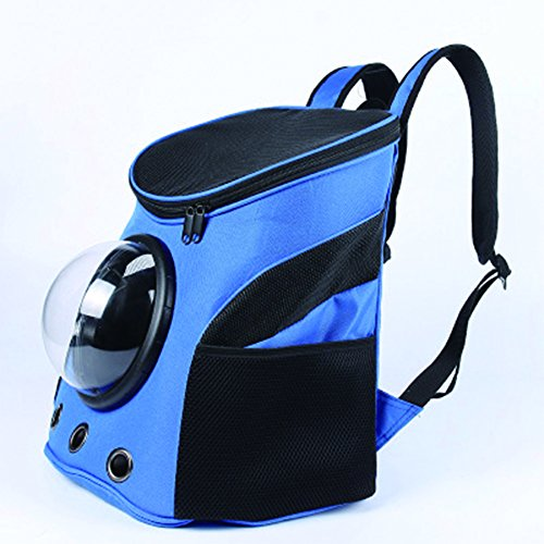 YAOBAO Animal Portable Carrier Espace Capsule Sac À Dos PU En Cuir Chien Chat Petites Animaux Voyage Sac,Blue