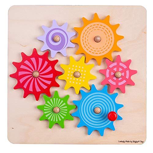 Bigjigs Spielzeug Holzzahnräder und Zahnrad Puzzle - Educational Learning Jigsaw
