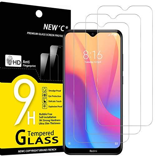 NEW'C 3 Unidades, Protector de Pantalla para Xiaomi Redmi 8, Redmi 8A, Antiarañazos, Antihuellas, Sin Burbujas, Dureza 9H, 0.33 mm Ultra Transparente, Vidrio Templado Ultra Resistente