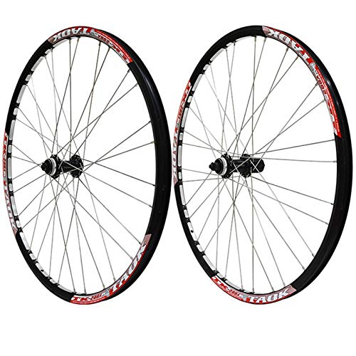 ZNND 27,5 Pulgadas Juego Ruedas Bicicleta Montaña Bloqueo Central Freno Disco Liberación Rápida Cubo Ciclismo Llanta MTB De Doble Pared 7,8,9 Velocidad (Color : Red)