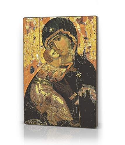 Artel Russ Gottesmutter von Wladimir Russische Religiöse Icon Canvas Leinwanddruck Decor auf Holz
