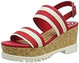 Pepe Jeans London Katherine Double Strap, Sandalias con Plataforma para Mujer, Rojo/Blanco, 38 EU