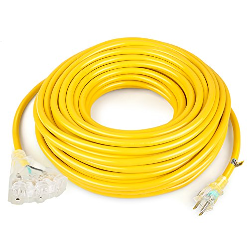 SIMBR 12/3 100 FT Extension Cord Outdoor with Triple Outlets, Heavy Duty 12 Gauge Lighted Electrical Cord, 15 Amps, 1875 Watts, UL Listed, SJTW, Yellow