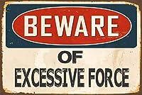 過剰な力に注意アルミ合金8x12メタルレトロコピー危険マーク