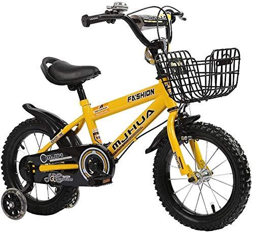 Fuli acero de alto carbono niño bicicleta tamaño 14 pulgadas 3 cinta estabilizador guardabarros y soporte-amarillo