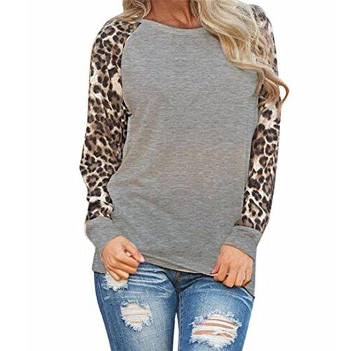 Blusas Mujer, ASHOP Casual O Cuello Leopardo Sudaderas Ropa