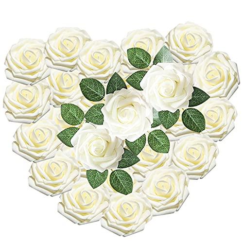 Flores Rosas Artificiales Flores Artificiales Rosas Falsa Espuma con Hoja y Vástago Ramo de Flores para DIY Ramos Bodas Fiestas Party Decoración Centro de Mesa Decoración