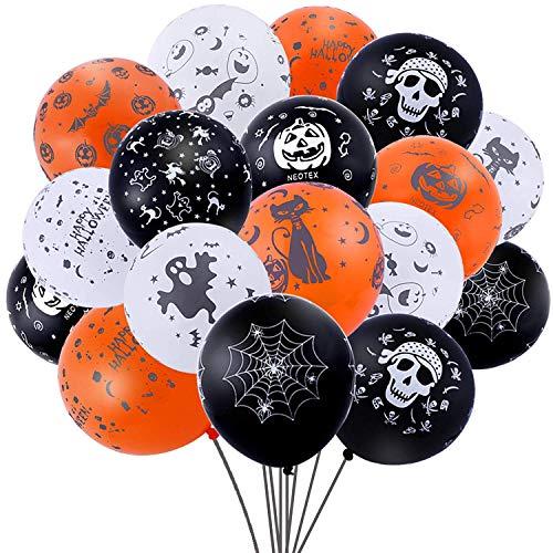 Nabance 100Stk Halloween Deko Luftballons Luftballons Halloween Party Dekoration für Halloween-Mottoparty(Orange Schwarz und Weiß)