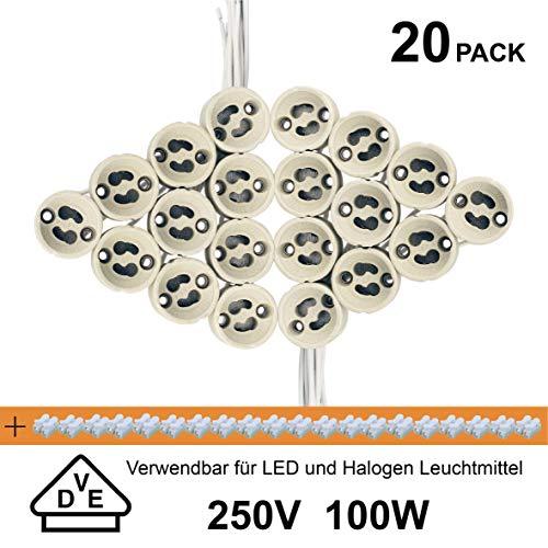 EACLL GU10 Bases para Lámparas, Casquillo Portalámparas Zócalo de Cerámica, Con Cable de Silicona de Calidad, Para GU10 LED y Halógeno, 20 Pack