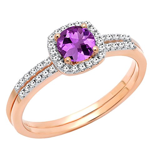 Dazzlingrock Collection 10K 5 MM Round Amethyst & Diamond Bridal Halo Engagement Ring Set, Rose Gold, Size 7