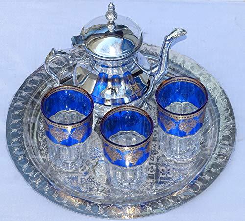 kenta artesanias : Juego de té marroquí Tetera Grande + Bandeja de 30 cm repujada + 3 Vasos Grandes 10 cm