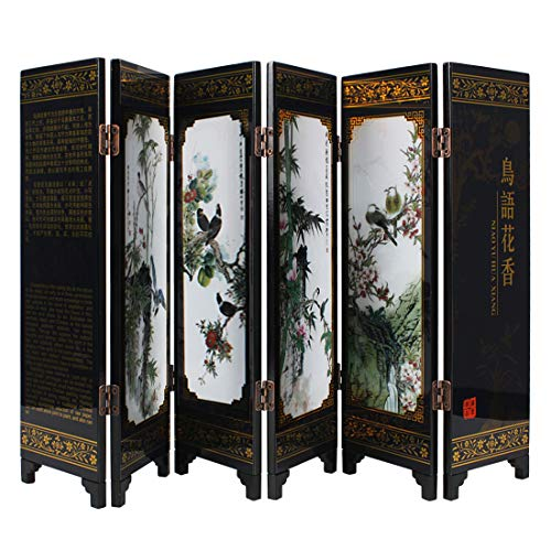 Larcele 245mm/9.65inch Höhe Mini Paravent Holz Folding Screen Art Byobu FGPF-01 (Vogel) MEHRWEG
