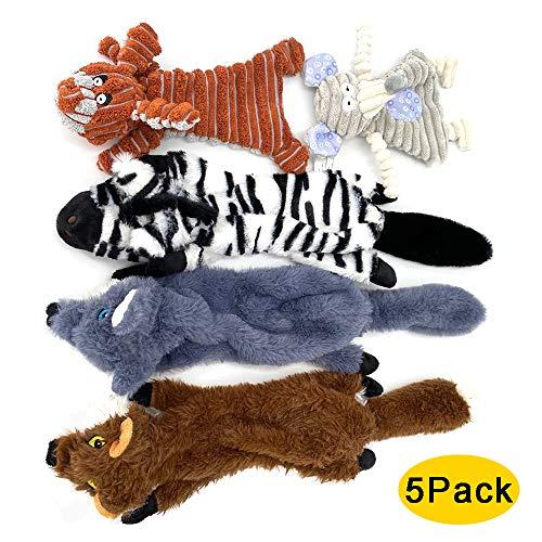 PIZZ ANNU Lot de 5 jouets couineurs pour chien, sans rembourrage, en peluche, renard, zèbre, éléphant interactif, jouet à mâcher pour chien, anti-piqûres